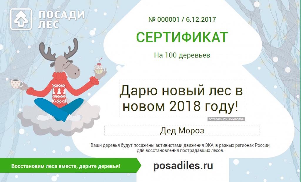 На Новый год можно подарить…лес